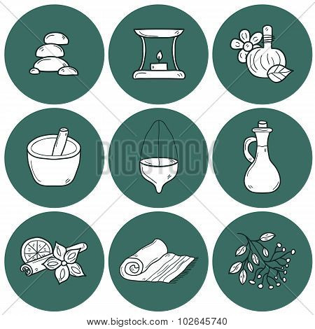 Set of cartoon ayurvedic icons in outline hand drawn style: herbs, stones, oil, spices, aromatherapy