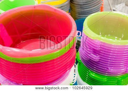 stack of plastic bucket