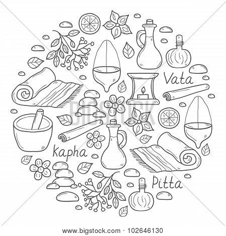 Set of cartoon ayurvedic hand drawn objects for background in circle shape: herbs, stones, oil, spic