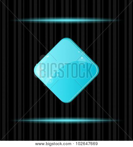 Blue glossy blank web button with reflection