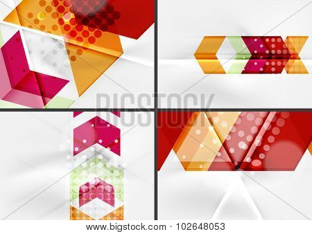 Set of angle and straight lines design abstract backgrounds. Geometric shapes, triangles and arrows with light effects