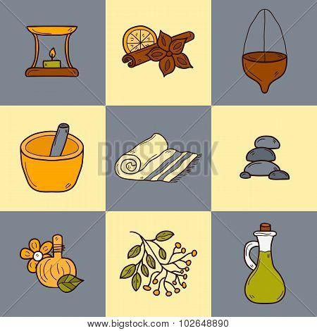Set of cartoon ayurvedic icons in hand drawn style: herbs, stones, oil, spices, aromatherapy, towel.