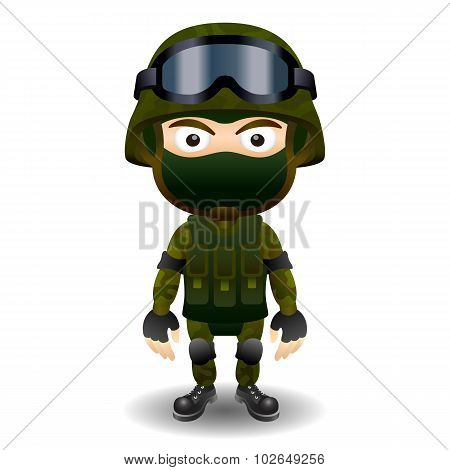 Soldier military character combat black mask