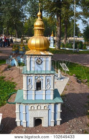 KIEV, UKRAINE - September 23, 2015: Entertaiment Park Ukraine in Miniature (Small scale Ukraine).St. Michael's Golden-Domed Monastery in Kiev,