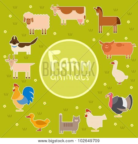 Farm animals in the green field
