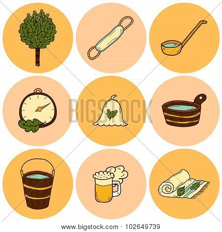 Set of hand drawn sauna icons: broom, towel, hat, wisp, beer, steam. Relaxation, health care or trea