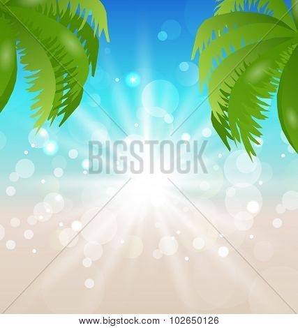 Summer holiday background with sunlight and palmtree