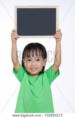Asian Chinese Little Girl Holding Chalkboard