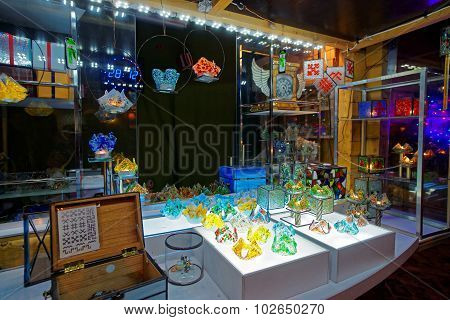 Christmas Shop With Handmade Souvenirs Made Of Glass