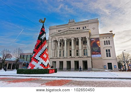 Christmas Fir Tree In Front Of Latvian National Opera In Riga