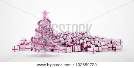 Pile of white and pink christmas presents and christmas tree isolated on white background. Concept image for christmas (x-mas) or weddings. 3d Rendering.
