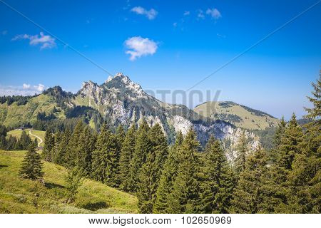 View To The Mountain Kampenwand In The Bavarian Alps
