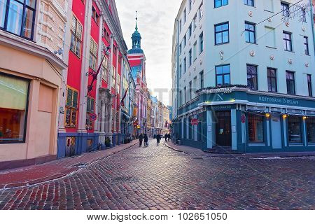 Beautiful Architecture Of Old Riga At Christmas Time