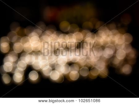 White Golden Glowing Light Bokeh Blur Abstract Of City Life Background Split-tone