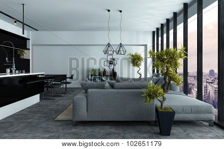 Spacious modern open-plan living room with a built in kitchen and comfortable grey couches in two seating areas in front of panoramic view windows, 3d rendering