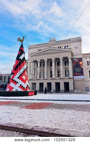 Christmas Tree In Front Of Latvian National Opera Building In Riga