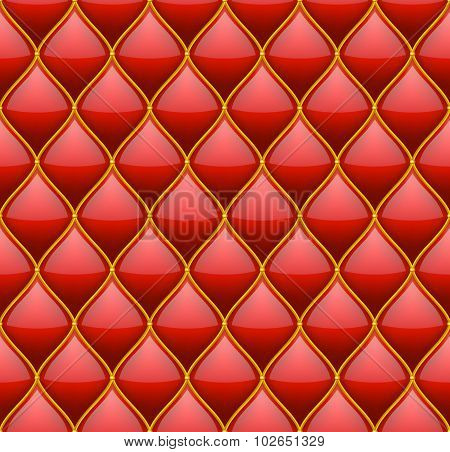 Red with Gold Quilted Leather Seamless Background. Vector