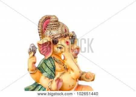 Yello Ganesh (ganapati- Elephant God) In Hindusim Mythology Closeup Hold The Weapons Maze And Axe Po