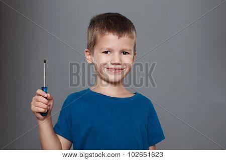 Little Boy Holding Screwdriver