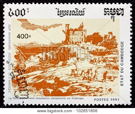 Postage Stamp Cambodia 1991 First European Settlement