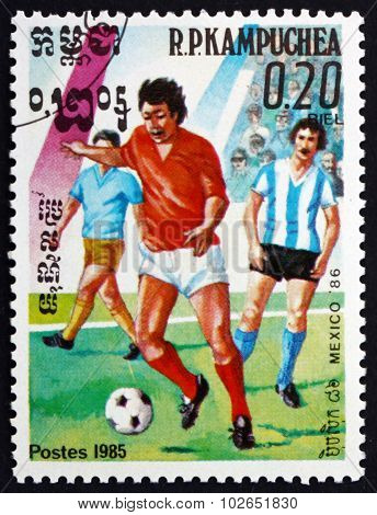 Postage Stamp Cambodia 1985 Soccer Players In Action