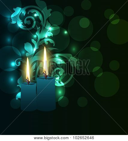 Greeting glowing card with candles for Diwali festival