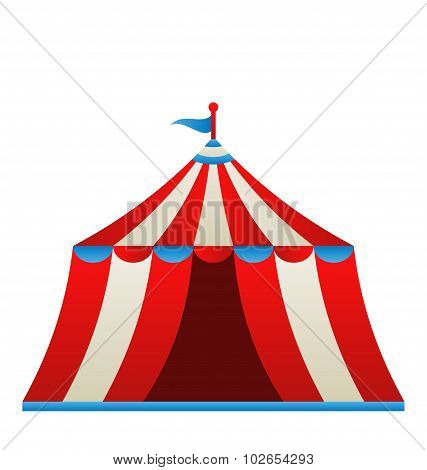 Open circus stripe tent isolated on white background