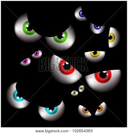 Set Of Realistic Spooky, Scary,  Human Eye Ball With Colorful Pupil, Iris. Halloween Vector Illustra