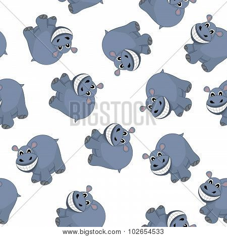 Samless Funny Cartoon Hippo