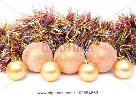 Christmas, New Year Decoration Composition, Pink And Gold Balls With Multicolored Tinsel