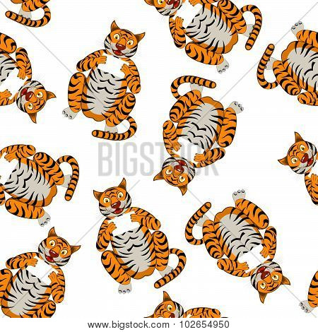 Seamless Funny Cartoon Tiger