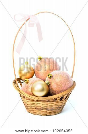 Basket With Christmas Pink And Gold Balls