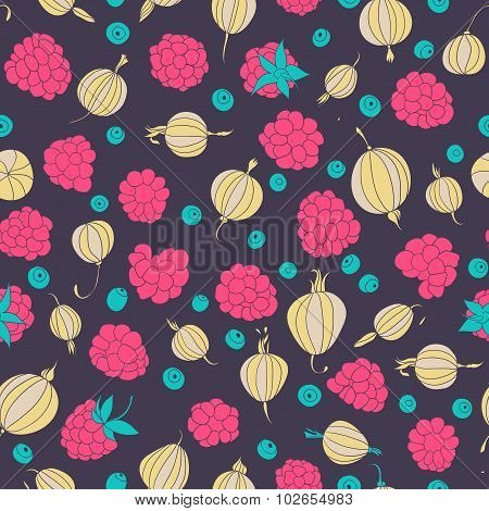Seamless pattern with gooseberry, raspberry and bilberry. Berries.