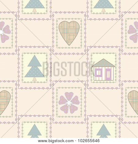 Patchwork Seamless Christmas Pattern With Elements Background