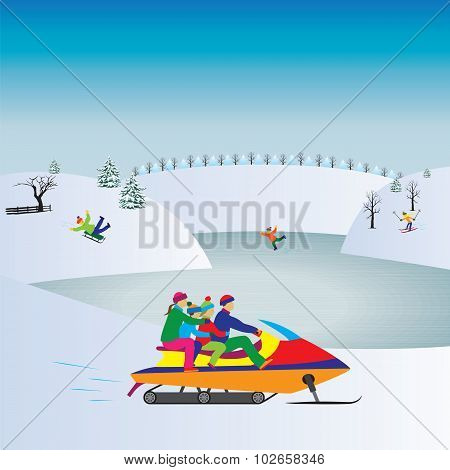 Happy Family On A Snowmobile. Winter Vacation. Active Family.