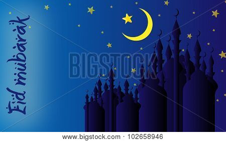 Islamic Holiday Blessing With Starry Night Mosque Silhouettes