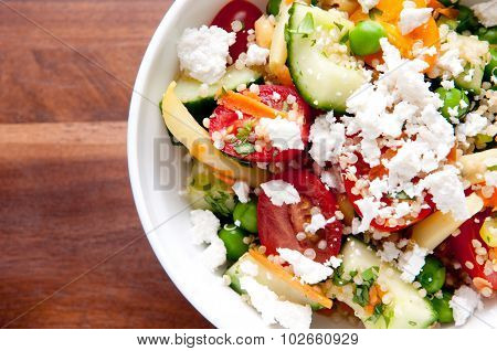 Quinoa And Chickpea Salad With Feta, Cucumber And Tomato
