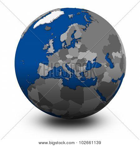 Europe On Political Globe Illustration