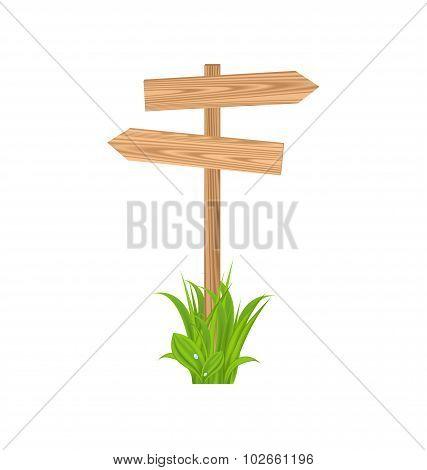 Wooden signboard for guidepost, grass