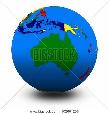 Australia On Political Globe Illustration