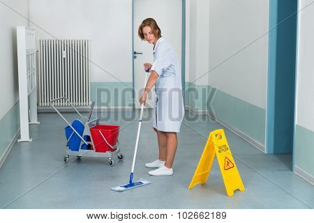 Janitor With Wet Caution Sign And Cleaning Equipments
