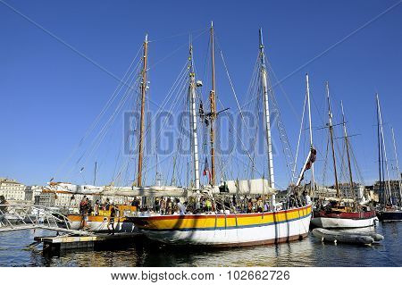 Old Sailing Ships Docked In The Old Port Of Marseille