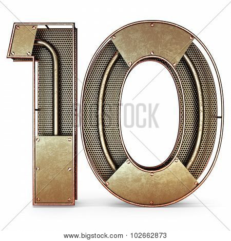 3d number ten 10 symbol with rustic gold metal