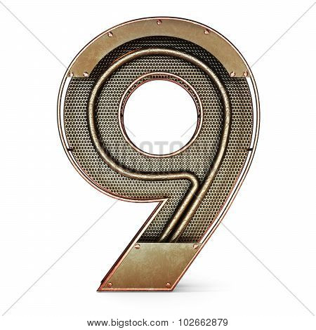 3d number nine 9 symbol with rustic gold metal