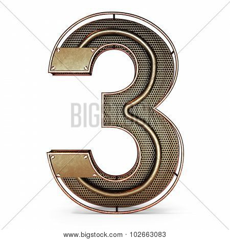 3d number three 3 symbol with rustic gold metal
