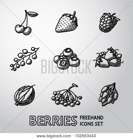 Set of freehand BERRIES icons - cherry, strawberry, raspberry, currant, blueberry, gooseberry, rowan