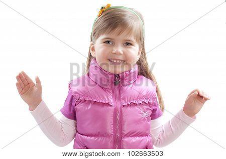 Little Girl Rose Hends Up