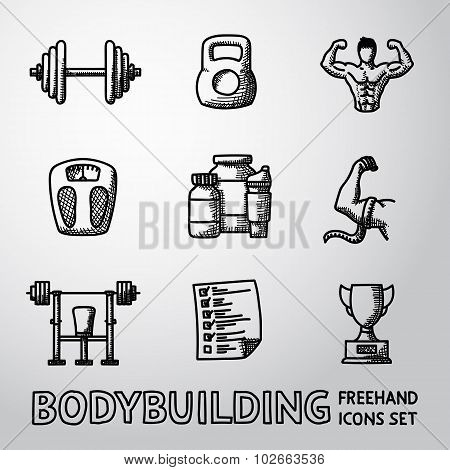 Set of Bodybuilding freehand icons with - dumbbell, weight, bodybuilder, scales, gainer, shaker, mea