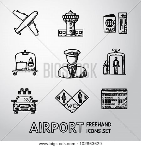Set of handdrawn AIRPORT icons - airplane, airport, passport and ticket, luggage, pilot,gates, taxi,