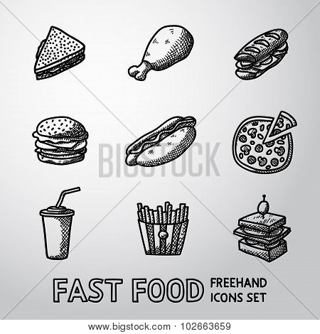 Set of freehand FAST FOOD icons - sandwich, chicken, hamburger, hotdog, pizza, french fries, canape,